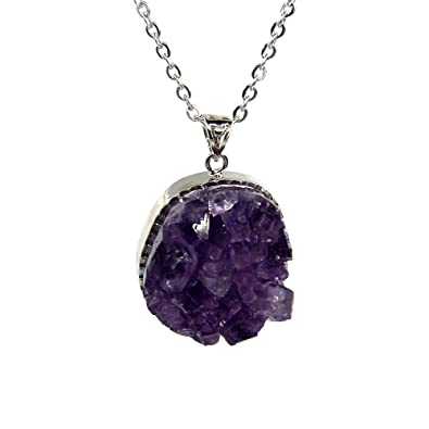 Natural Amethyst Drusy Geode Crystal Cluster CZ Package Edge Pendant  Necklaces 20'' Stainless Steel Chain