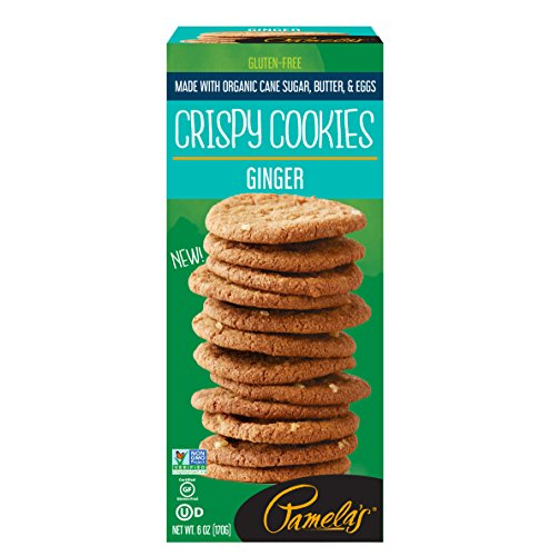 Pamela's Crispy Gluten Free Cookies, Ginger, 6 Ounce Box, 6 Count -