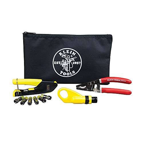 (Coax Installation Kit with F Connectors, Cable Cutter, Compression Tool, Stripper, More Klein Tools VDV026-211)