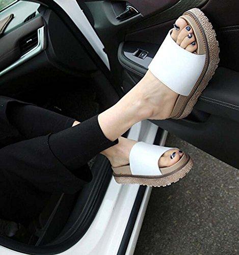 Negro y de tacón SHINIK Zapatos cuña de Plataforma Zapatillas mujer Blanco de ocasionales verano chanclas 34 de cuña Talla Piel de 43 Blanco qq5TWn6