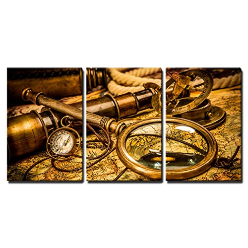 """Wall26 - 3 Piece Canvas Wall Art - Vintage Magnifying Glass, Compass, Telescope and a Pocket Watch Lying on an Old Map. - Modern Home Decor Stretched and Framed Ready to Hang - 16\""""x24\""""x3 Panels"""