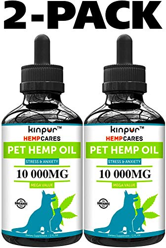 Kinpur (2 PACK   20 000MG) Hemp Oil for Dogs & Cats - Anxiety Relief for Dogs & Cats - Pet Hemp Oil - Supports Hip & Joint Health - Made in USA - Natural Relief for Pain - Omega 3, 6 & 9