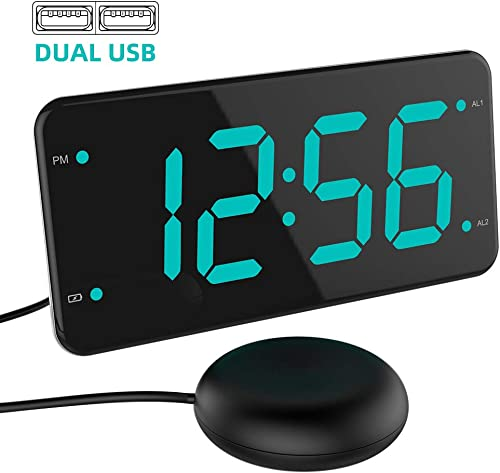 Loud Alarm Clock with Bed Shaker, Vibrating Alarm Clock for Heavy Sleepers, Deaf and Hard of Hearing, Dual Alarm Clock, 2 Charger Ports, 7-Inch Display, Full Range Dimmer and Battery Backup – Green