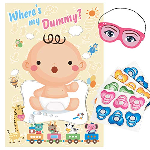 ADJOY Pin The Pacifier on The Baby Game - Baby Shower Party Favors and Game - Pin The Dummy on The Baby Game -