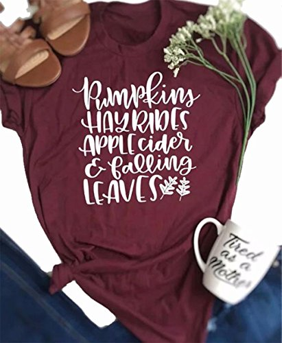Pumpkins Hayrides Apple Cider and Falling Leaves T-Shirt Women's Fall Short Sleeve Blouse Tops Size XL (Red) -