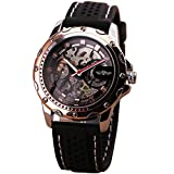 BEST SELLING Men's Luxury Rose Gold Case Skeleton Automatic Mechanical Wrist Watch Rubber Strap Noble Elegant Gift + FREE BOX