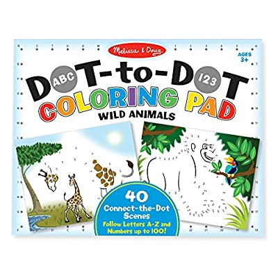 Melissa & Doug ABC 123 Wild Animals Dot-to-Dot Coloring Pad (Great Gift for Girls and Boys - Best for 3, 4, 5, 6, 7 Year Olds and Up): Toys & Games