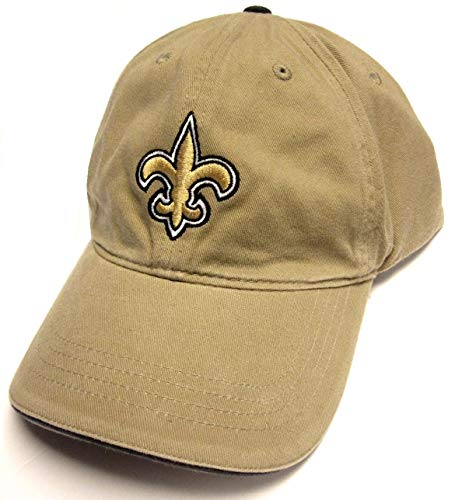 (NFL Team Apparel New Orleans Saints Tan Khaki Slouch Relaxed Fit Hat Cap Adult Adjustable)