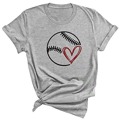 (Baseball Graphic T Shirts Tees for Women Baseball Heart Cute Shirts Short Sleeve Casual Summer Tops Size Medium (Grey) )
