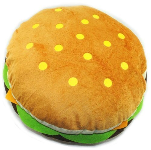 Kids Teens Fun Cute Hamburger Soft Stuffed Pillow Round Throw Plush Toy 15