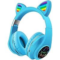 YOUANG Bluetooth-hoofdtelefoon met microfoon, kattenoor met LED-flitslicht, opvouwbare head-mounted draadloze headset…