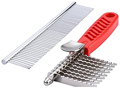 QUMY Dog Comb Pet Grooming Comb Dog Rake Comb Trimmer Stainless Steel Dog Comb for Dematting Removing Dead, Matted or Knotted Hair