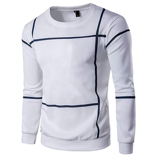 Bestow Moda de Manga Larga a Rayas Hombres Jersey Abrigo O Cuello suéter Outwear Sudadera Abrigo suéter Chaleco: Amazon.es: Ropa y accesorios