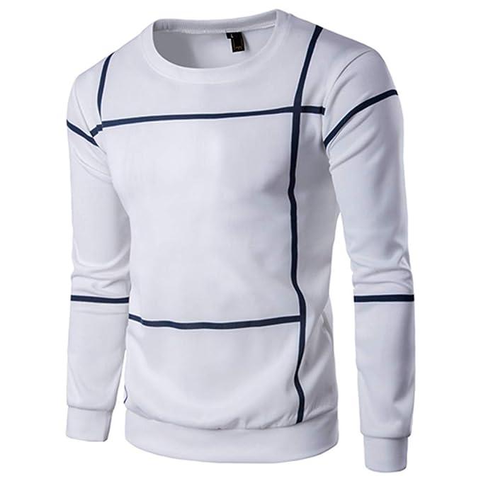 Bestow Moda de Manga Larga a Rayas Hombres Jersey Abrigo O Cuello suéter Outwear Sudadera Abrigo