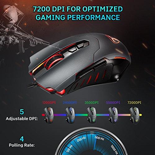 PICTEK Ratón Gaming, Vision 7200DPI LED Ratones Gaming, Cableado Computadora Raton Gaming Programable Guay LED [5 dpi Ajustable] Raton Juegos ...