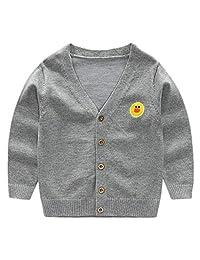 SERAIALDA Boys' Autumn Button Down V-Neck Long Sleeve Knit Cardigan Sweater Outerwear
