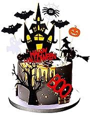 Skystuff Halloween Cake Toppers، 11 قطعة من زينة كعكة الهالوين، ساحرة اليقطين العنكبوت بيت مسكون الشبح لتزيين الكعك للأطفال لوازم حفلات الهالوين