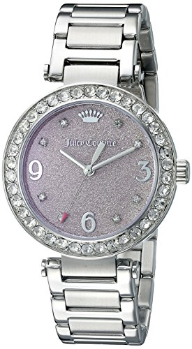 Juicy Couture Glitter Rhinestone (Juicy Couture Women's 1901327 Analog Display Quartz Silver-Tone Stainless Steel)