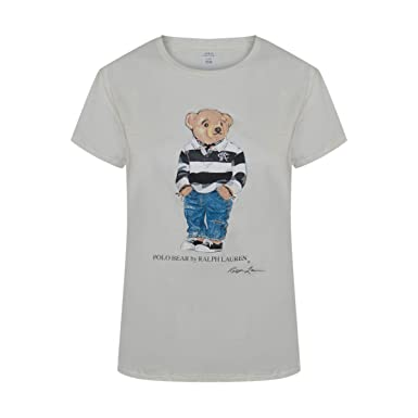 54c040d90a6fbf Polo Ralph Lauren Women's Limited Polo Bear T-Shirt (X-Large, White/Black  Striped Polo Bear) at Amazon Women's Clothing store: