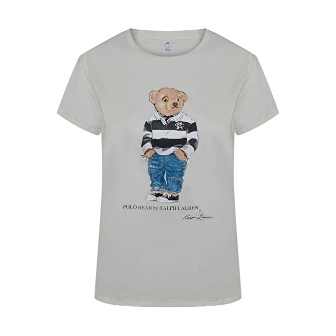 96ae66ef Polo Ralph Lauren Women's Limited Polo Bear T-Shirt (X-Large, White/Black  Striped Polo Bear) at Amazon Women's Clothing store:
