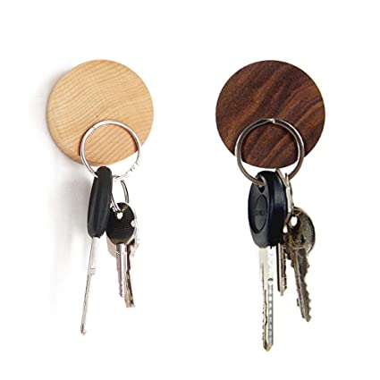 Eqlef Magnetic Key Holder Wood Wall Hooks Round Wooden Key Hanger For Keys Coins Cards Storage Pack Of 2