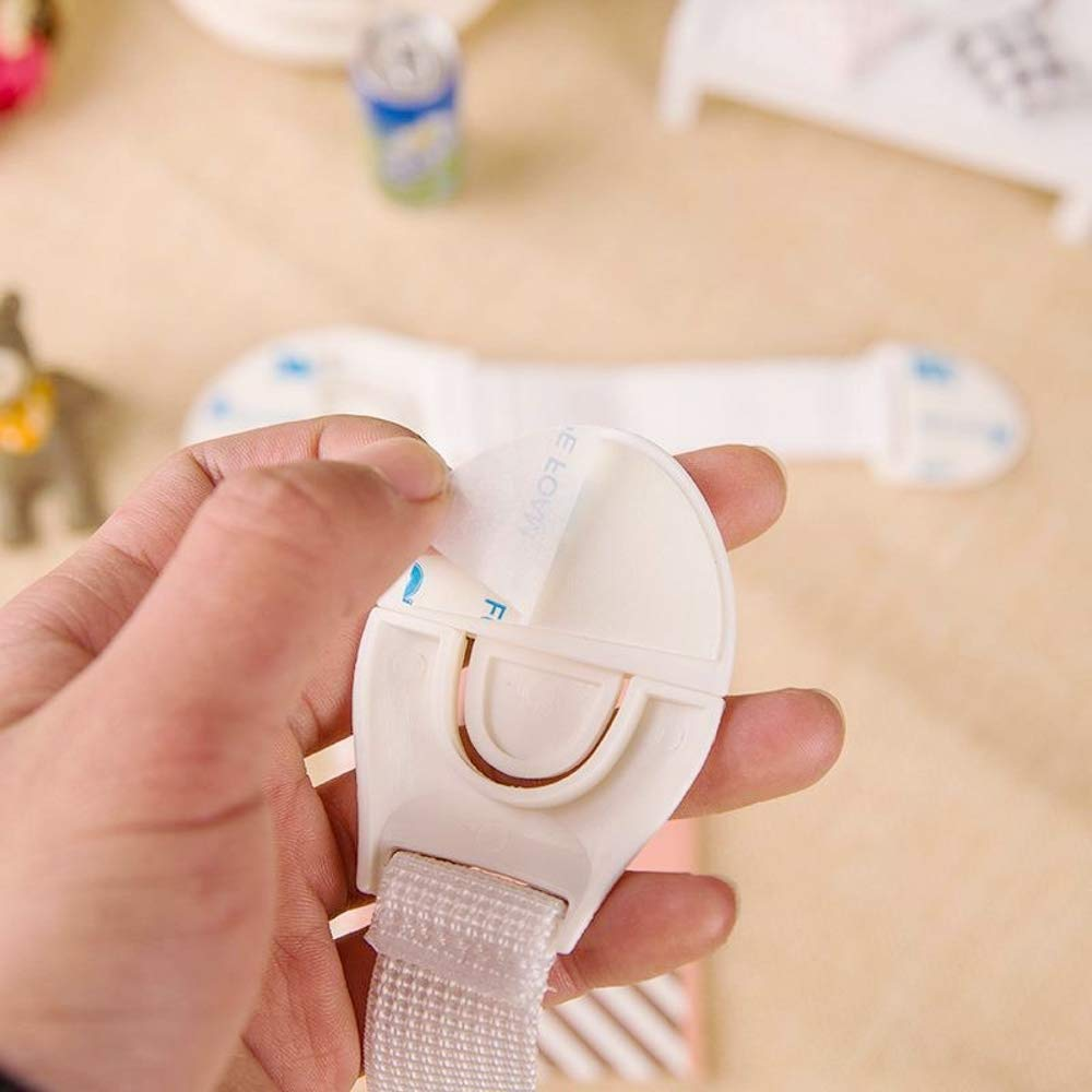 JZK 20 x Blocca adesivo chiavistelli plastica fermacassetti serrature di sicurezza per cassetti porta armadi per bambini cani gatti