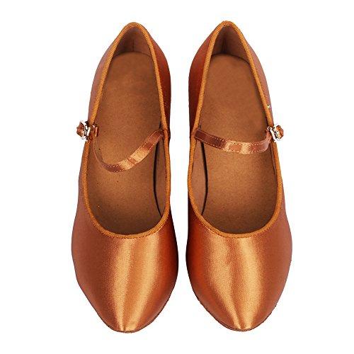 Standard Modell Dance Braun SWDZM Damen Tanzschuhe Ballsaal Latin Modern DE Schuhe Satin Modern 306 vXatO4