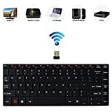 Bestdeal® High Quality Aluminum Body Ultra Slim Mini Compact Wireless QWERTY Keyboard with Multimedia Hot Keys for Samsung Smart TV 55'' S7 Smart UHD TV HU7500 & 78'' S8 Smart Curved UHD TV U8500