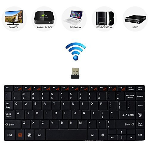 Bestdeal® Hoch Qualität Aluminium Körper Ultra Dünn Mini Kompakt Wireless QWERTY Tastatur mit Multimedia Hot Keys für Samsung Smart TV UE58J5250 UE48JU6050 UE55JU6050 UE65JU6050