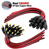 [Real 18AWG 43x2pcs Wires] 20 Pairs DC Power Pigtail Cable, 12V 5A Male & Female Connectors for CCTV Security Camera and Lighting Power Adapter by MILAPEAK (2.1mm x 5.5 mm, Ultra Thick 18AWG)