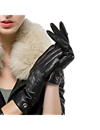 Nappaglo Women Winter Warm Driving Lambskin Leather Gloves/Cashmere Lining