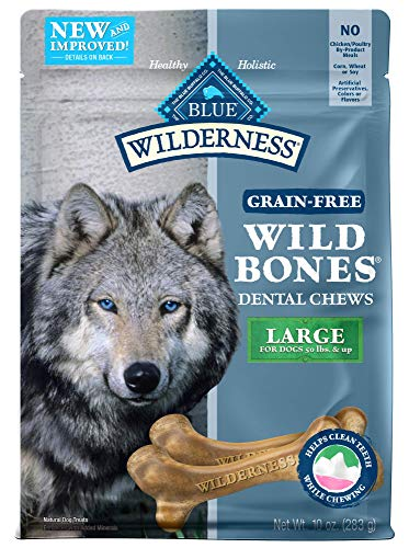 - BLUE Wilderness Wild Bones Grain Free Dental Chews, 10 oz., Large Bones for Dogs