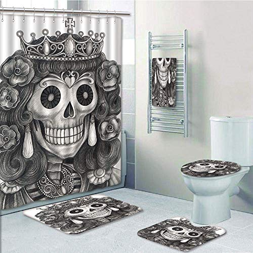 Bathroom 5 Piece Set shower curtain 3d print,Queen,Day of the Dead Artwork Hand Drawing Folk Skull with Flowers Crown Ornaments Decorative,Black and White,Bath Mat,Bathroom Carpet Rug,Non-Slip,Bath To