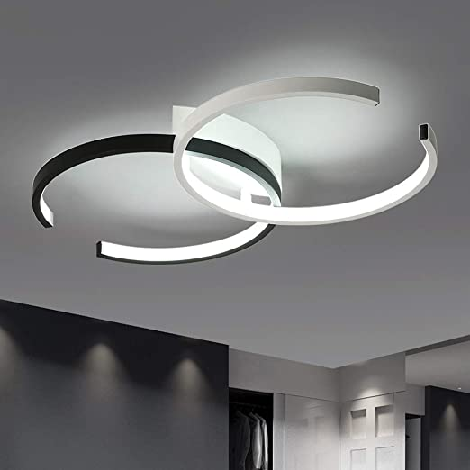 Yuany 36 W Lámpara de Techo LED Dormitorio Diseño Moderno Negro ...
