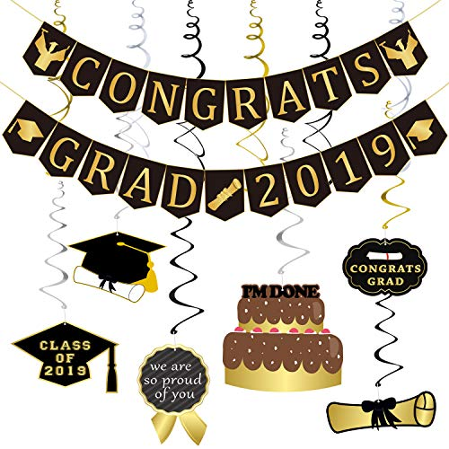 Partyprops Congrats Grad 2019 Graduation Banner and Hanging Swirls Assembled Kit, Black and Gold Graduation Party Decorations Supplies for High School, Prom, College Grad -12pcs