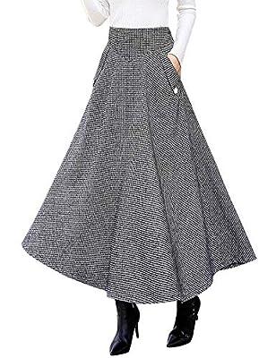 IDEALSANXUN Women's Fall/Winter High Waist Plaid Slim A-line Long Skirt