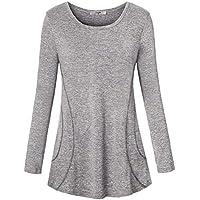 Luranee Womens Yoga Tops Long Sleeve Crew Neck Casual Loose Gym Sport Shirts