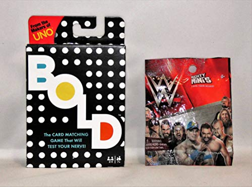 Uno BOLD card game bundled with WWE mighty mini's {style may vary}