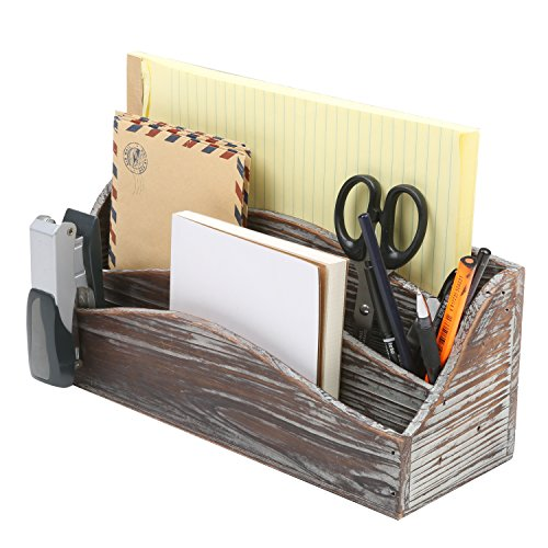Dark Brown Vintage Style Postcard Design Wood Mail Sorter / Desktop Office Supply Storage Box