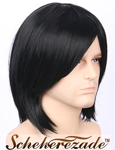 Scheherezade Short Bob Synthtetic Wig For Men Cheap Full Machine Made Short Straight Black Hair Wigs With Bangs Left Side Parting For Halloween Cosplay Ldsmen04 Buy Online In India At Desertcart In Productid