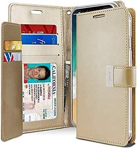 غطاء حافظة حماية ومحفظة لجهاز آيفون إكس و إكس إس من الجلد مع جيوب داخلية، ذهبي