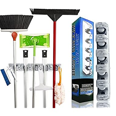Best Broom Holder | Wall Mounted Non Slide Mop Broom Holder and Rake Garden Tool Organizer with 6 Hooks and 5 Slots Up to 1.25  Handle | Quick Installation with Mounting Screws | E-Book Included