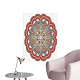 Wall Stickers for Living Room ient Macro Mandala Figure with Nature Elements Like Embroidery or Mosaic Vinyl Wall Stickers Print,32'W x 56'L