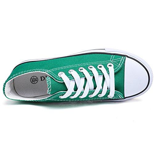 Odema Kvinnor Män Snörning Tygskor Mode Sneakers Klassiska Tillfälliga Preppy Stil Platta Skor 2-gröna