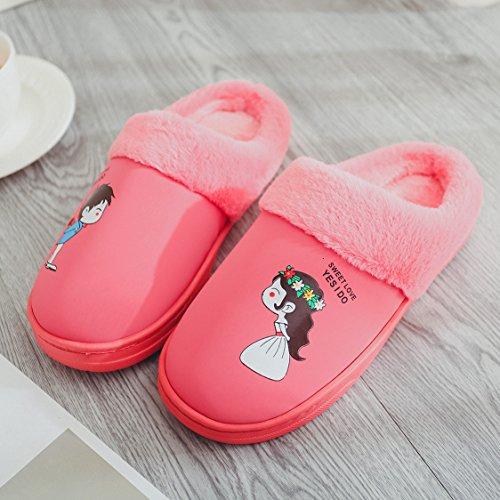 Coppie fankou home cotone pantofole indoor anti-slittamento dello spessore di soggiorno incantevole pantofole caldo inverno ,37-38, caffè tra uomini e donne.