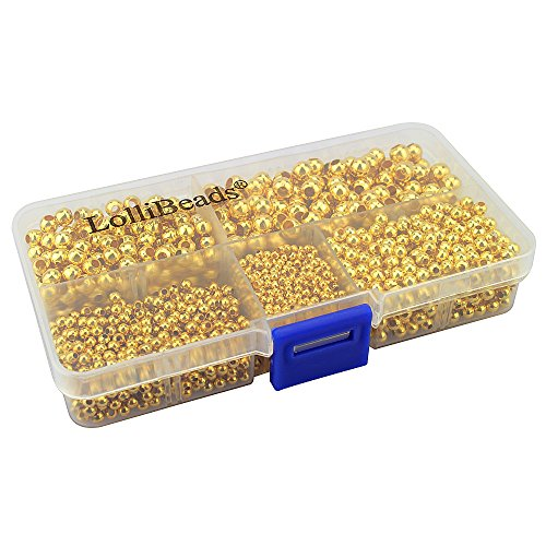 Plated Spacer Round Beads Gold - LolliBeads (R) Gold Plated Smooth Round Metal Beads Assorted Size Jumbo Pack 2100 pcs