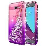Galaxy J3 Luna Pro Case, J3 Prime/J3 Eclipse/J3 Emerge/J3 Mission w/[Tempered Glass Screen Protector], NageBee Glitter Liquid Quicksand Waterfall Girls Cute Case for Samsung J3 2017 -Pink/Purple
