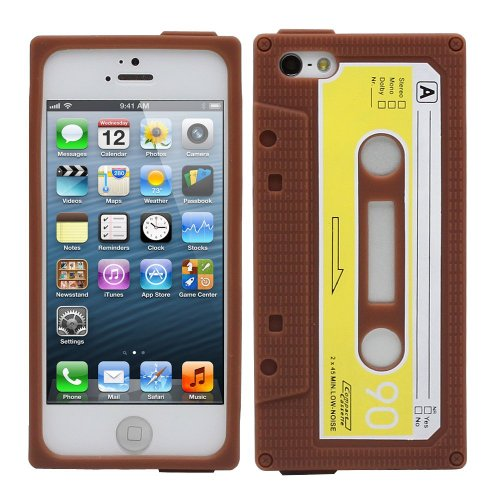 EEA 3D Retro Silicone Cassette Tape Case for iPhone 4 4S (Brown) (Cassette Tape Case For Iphone 4)