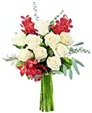KaBloom Fireside Bouquet of White Roses, Red Orchids and Seasonal Greens without Vase, 21 Count