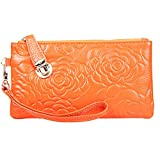 Women's Genuine Leather Rose Cell Phone Wristlets Wallet,Welegant Zipper Clutch Purse Bag for iPhone Samsung (Rose Flower, Orange)